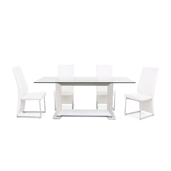Invictus glass dining table in clear with 6 riga white for Furniture in riga