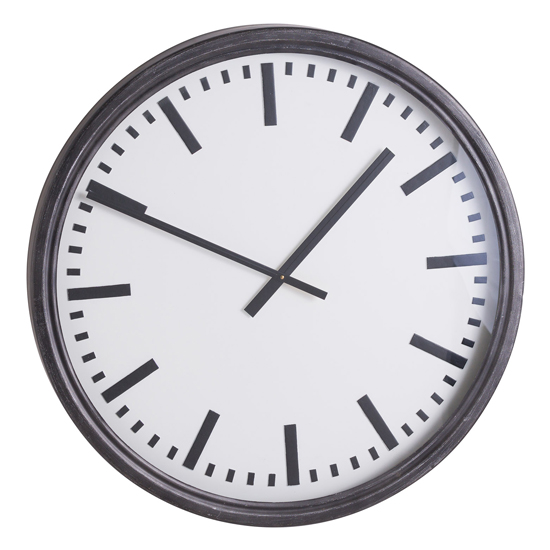 Iona Large Black Station Mirrored Wall Clock In Black