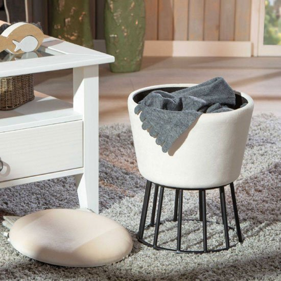 Ireen Fabric Storage Ottoman Stool In White With Metal Legs_2