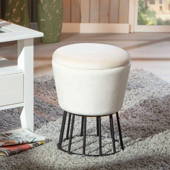 Ireen Fabric Storage Ottoman Stool In White With Metal Legs_1