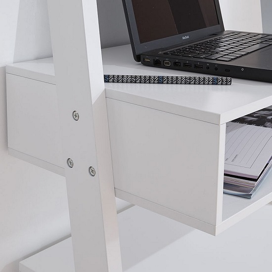 Irene Ladder Style Laptop Desk In White Finish With Stool_2