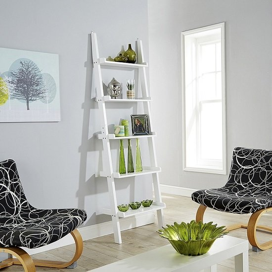 Irene Ladder Style Wall Mounted Shelving Unit In White
