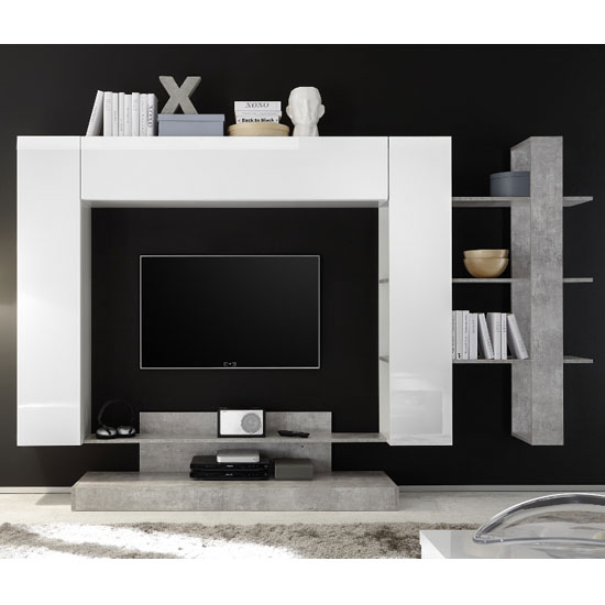 Iris Large Entertainment Unit In White Gloss And Cement Effect