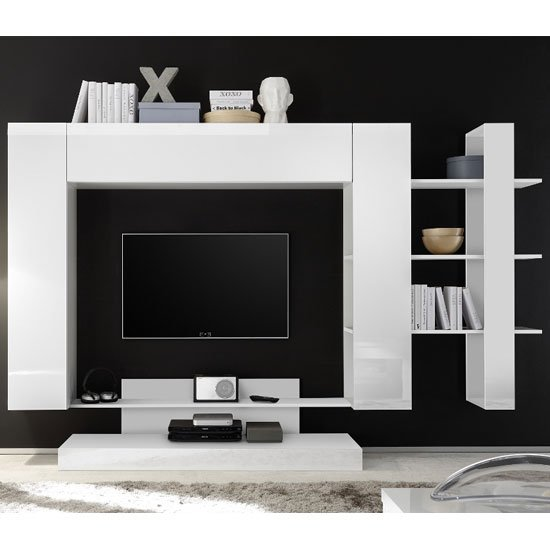 Iris Large Entertainment Unit In White High Gloss