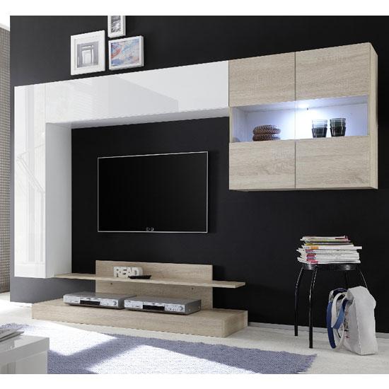 View Iris wall entertainment unit in white high gloss and samoa oak