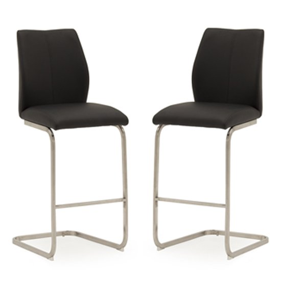 Irma Black Faux Leather Bar Chairs With Steel Legs In Pair