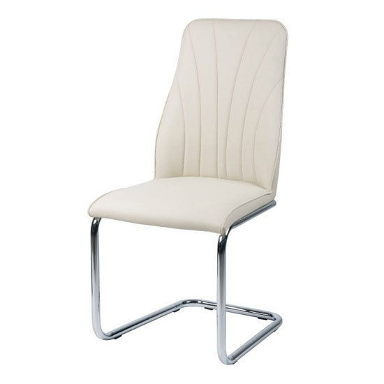 Irma Dining Chair In Cream Faux Leather With Chrome Legs
