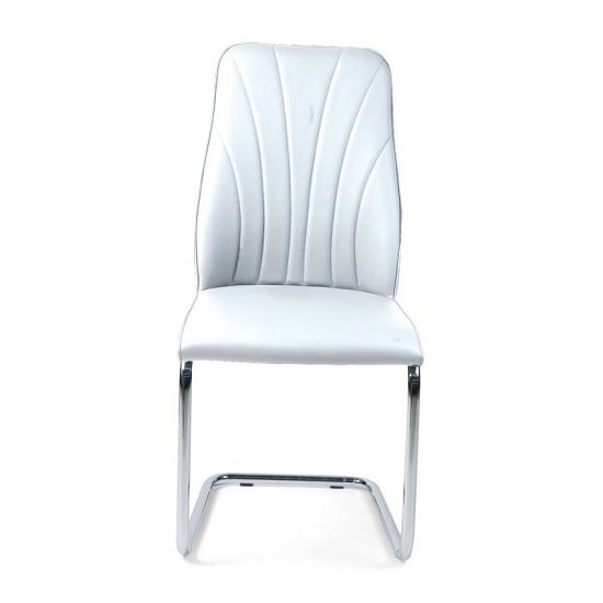 Irma Dining Chair In White Faux Leather With Chrome Legs_2