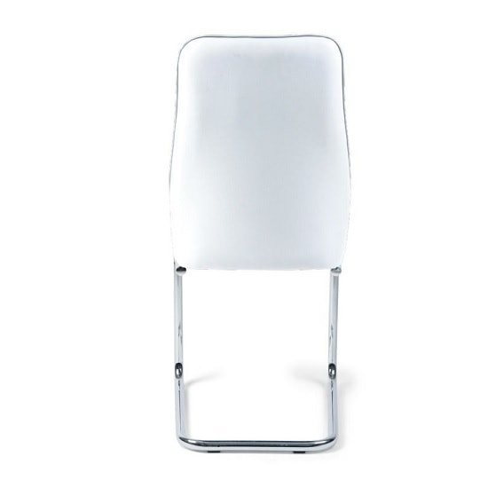 Irma Dining Chair In White Faux Leather With Chrome Legs_4