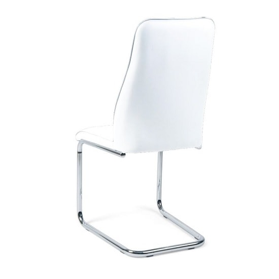 Irma Dining Chair In White Faux Leather With Chrome Legs_5