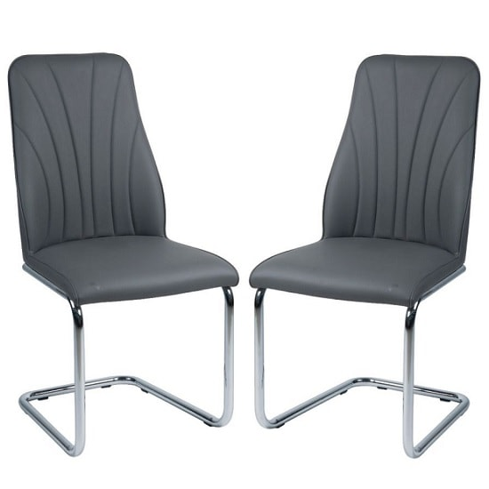 Irma Dining Chairs In Grey Faux Leather In A Pair