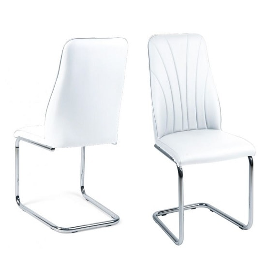 Irma Dining Chairs In White Faux Leather In A Pair