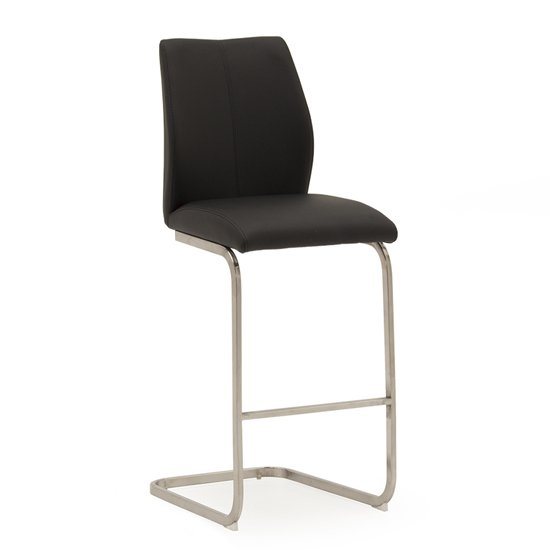 Irma Faux Leather Bar Chair In Black With Brushed Steel Legs