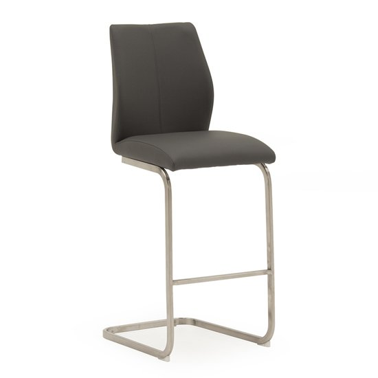 Irma Faux Leather Bar Chair In Grey With Brushed Steel Legs