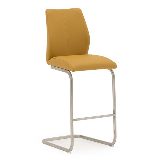 Irma Faux Leather Bar Chair In Pumpkin With Brushed Steel Legs