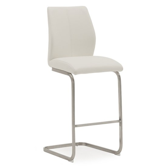 Irma Faux Leather Bar Chair In White With Brushed Steel Legs