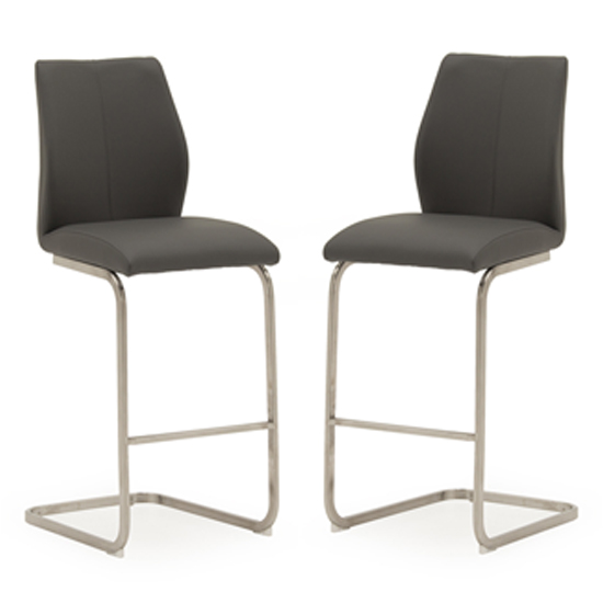 Irma Grey Faux Leather Bar Chairs In Pair With Steel Legs