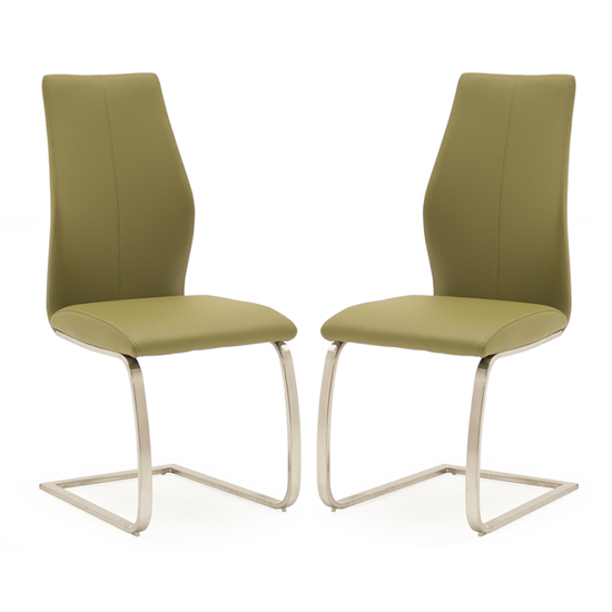 Irma Olive Faux Leather Dining Chairs With Steel Legs In Pair