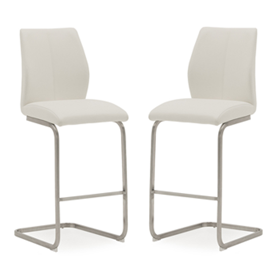 Irma White Faux Leather Bar Chairs With Steel Legs In Pair
