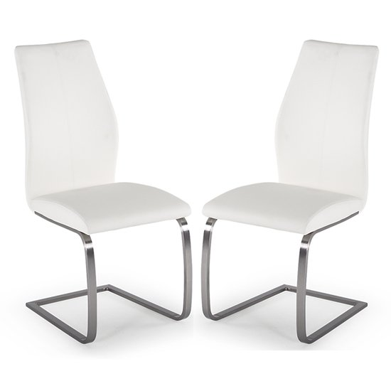Irma White Faux Leather Dining Chairs With Steel Legs In Pair