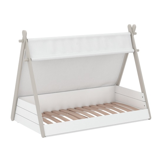 Irving Wooden Childrens Bed In Pearl White And Taupe