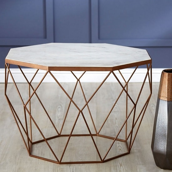 Irwin Octagon Side Table In Marble Top With Gold Iron Frame