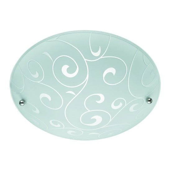 Irwin 30cm Flush Light In White With Swirl Glass Pattern