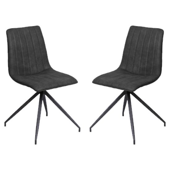 Isaac Charcoal Faux Leather Dining Chairs In Pair