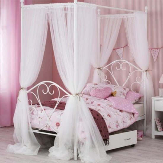 Isabelle Four Poster Metal Single Bed In White Gloss_1