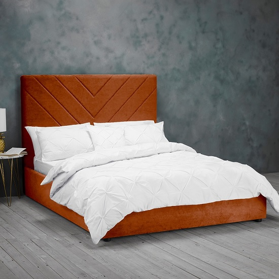 Islington King Size Fabric Bed In Orange_1