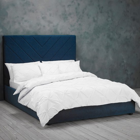 Islington Double Fabric Bed In Royal Blue