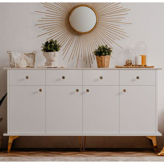 Istanbul Wooden Large Sideboard In White High Gloss