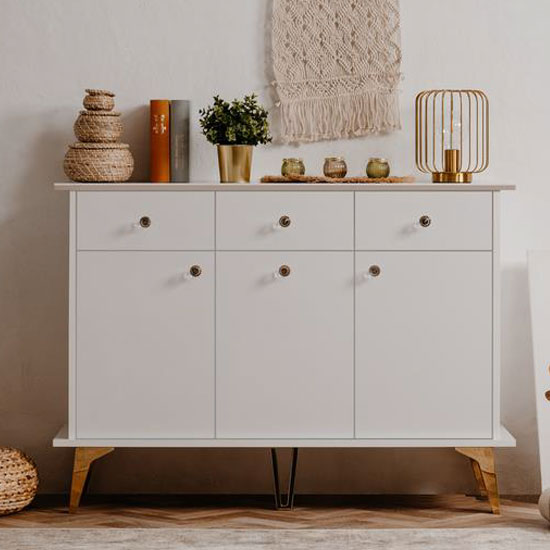 Istanbul Wooden Small Sideboard In White High Gloss