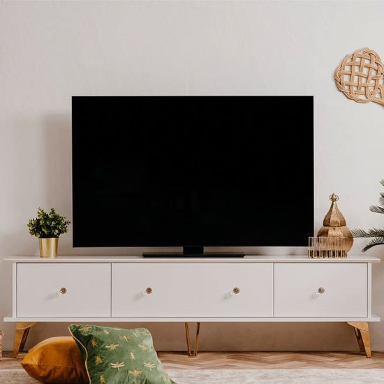 Istanbul Wooden TV Stand In White High Gloss