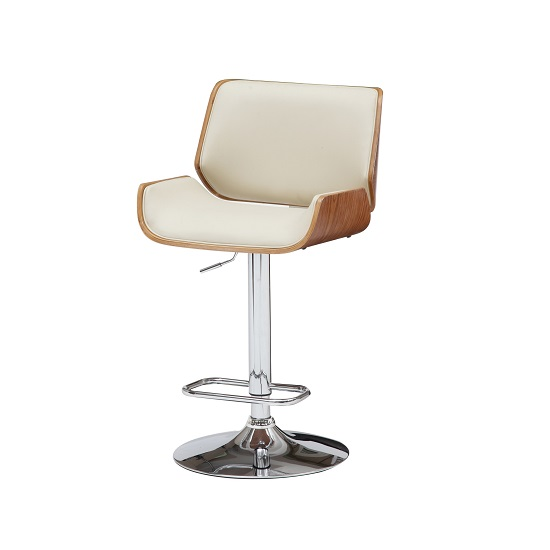 Italy Bar Stool In Cream PU Leather With Walnut And Chrome Base