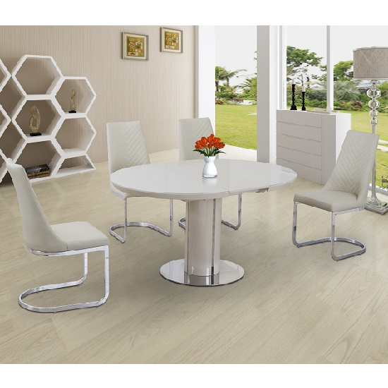 Italia Glass Extendable Dining Set Cream Gloss And 4 Roxy Chairs