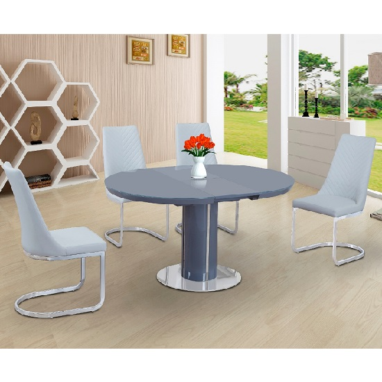 Italia Glass Extendable Dining Set Grey Gloss With 4 Roxy Chairs