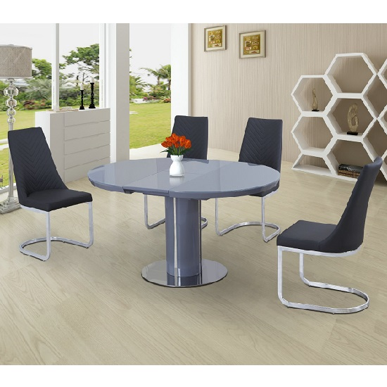Italia Glass Extendable Dining Set Grey Gloss With 4 Roxy Chairs_2