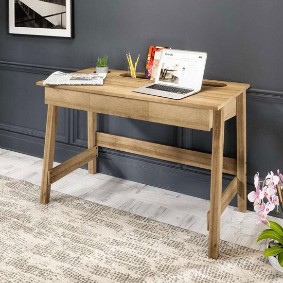View Ithaca wooden laptop desk in riviera oak