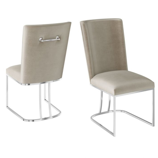 Ivana Mink Velvet Fabric Dining Chairs In Pair