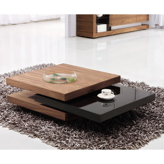 Iva White Walnut Rotating Coffee Table 14104 Furniture In Fashion Uk