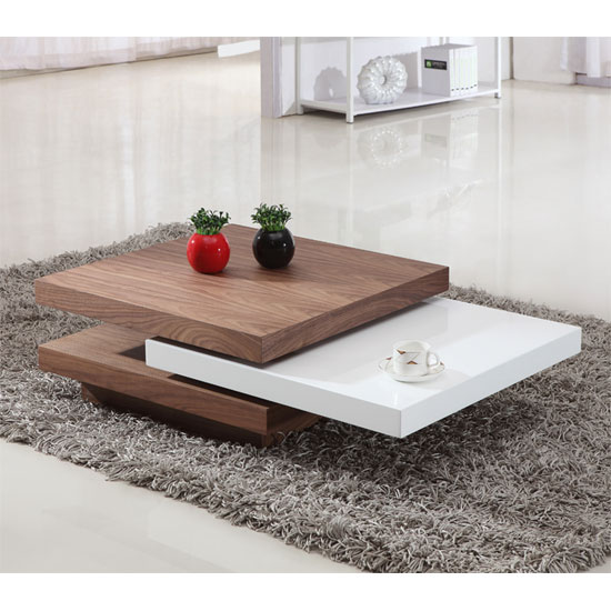 Iva White And Walnut Rotating Coffee Table
