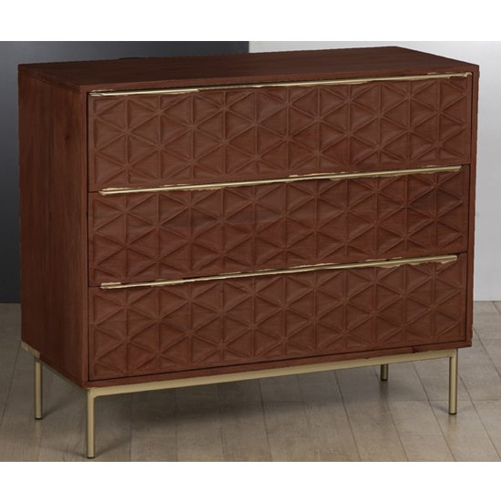 Ivoran Chest Of Drawers In Rich Walnut With 3 Drawers