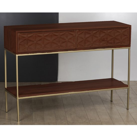 Ivy Console Table In Rich Walnut With 2 Drawers And 1 Shelf