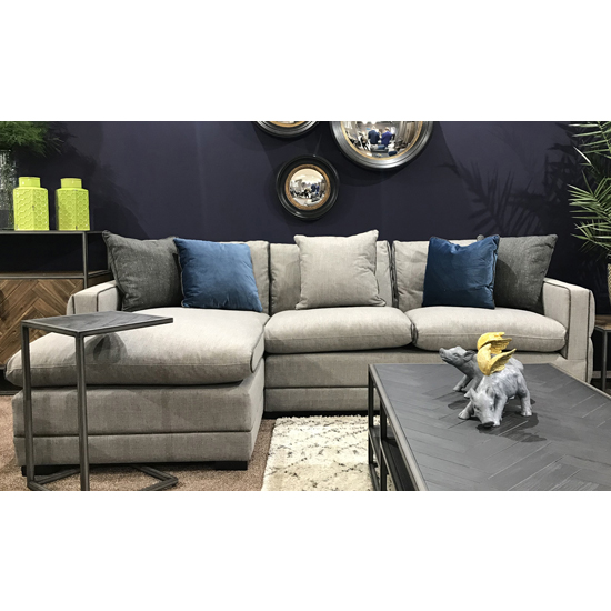 Ivy Corner Left Handed Fabric Sofa Bed In Grey