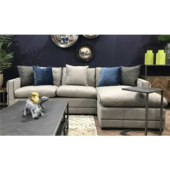 Ivy Corner Right Handed Fabric Sofa Bed In Grey