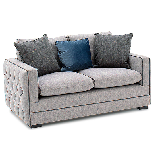 Ivy Fabric 2 Seater Sofa In Grey With Scatter Cushions