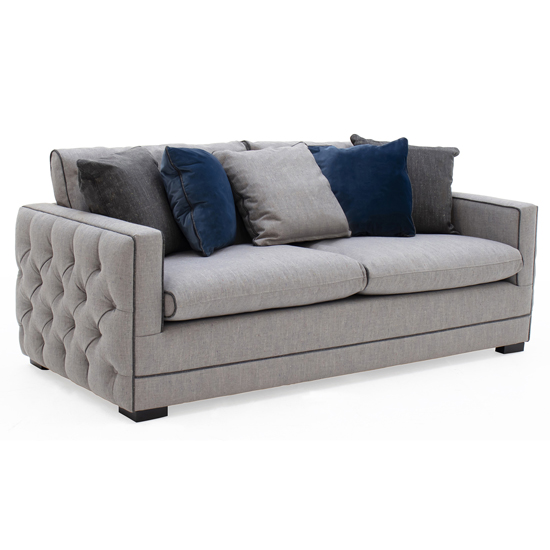 Product photograph showing Ivy Fabric 3 Seater Sofa In Grey With Scatter Cushions