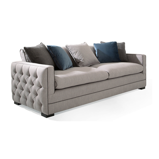 Ivy Fabric 4 Seater Sofa In Grey With Scatter Cushions