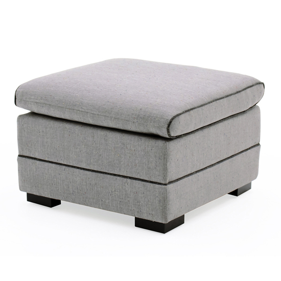View Ivy fabric storage ottoman stool in grey